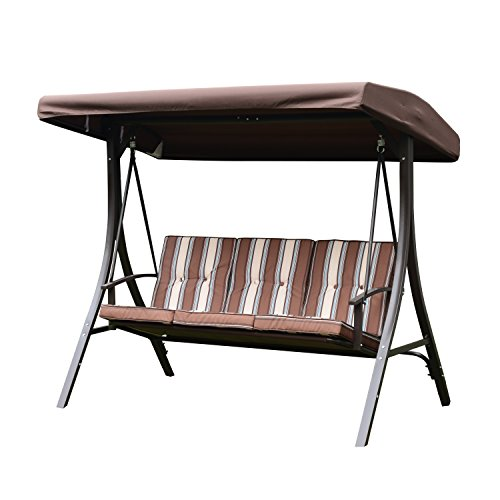 (UHOM Outdoor 3-Seat Striped Patio Porch Swing Hammock Chair with Canopy Awning)