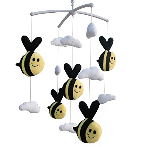 Cute Bee Plush Toy Adorable Baby Crib Decoration Music Mo...