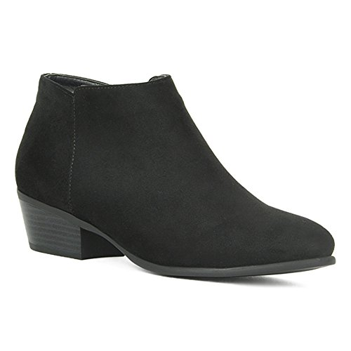 Women's Stacked Block Heel Booties Cowgirl Side Zip Low Chunky Heel Casual Western Ankle Boots Slip on Shoes Black 8