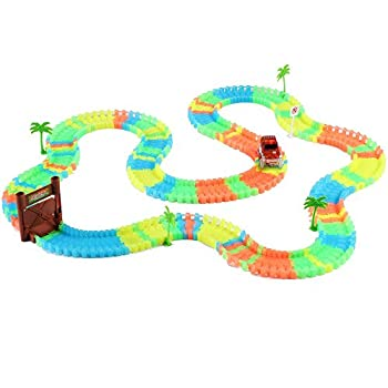 this item race car track set glow in the dark tracks led light car toy and flexible tracks for kids ages 3 and up includes gate trees gas station and