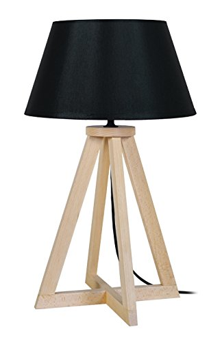 Tosel 65448 lámpara de mesa, 1 luz, madera, E27, 40 W, Negro ...