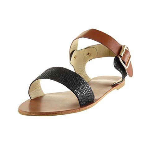 Angkorly - Chaussure Mode Sandale lanière cheville femme pailettes clouté boucle Talon bloc 1 CM - Noir