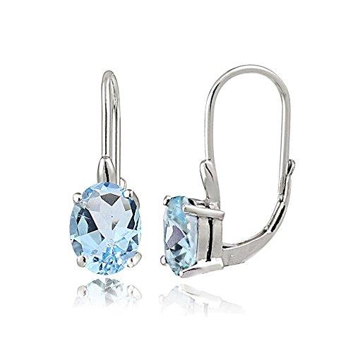 Blue Topaz Leverback Gem Earrings - Sterling Silver Blue Topaz Oval Leverback Earrings