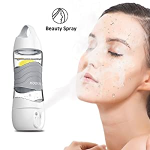 Humidifier Sports Water Bottle 400ML, Kuokel Beauty Spray Sport Cup with Smart DIDI Voice Prompts LED Light SOS Alarm Remind Drink Ultrasonic Air Aroma Diffuser Mist Maker Replenishing (Grey)