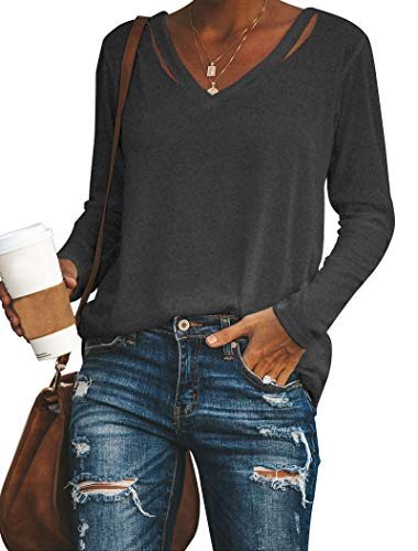 Vivitulip Womens Casual V Neck Long Sleeve Solid Color Tops Strape Shirts Soft Loose Blouse Charcoal (Womens Charcoal Blouse)