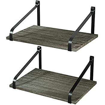 Love-KANKEI Floating Shelves Wall Mount Rustic Wood Wall Shelves with Large Storage L16.5 x W12 inch for Kitchen Living Room Bathroom Bedroom Set of 2 Weathered Grey