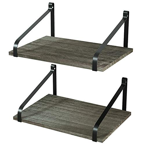 Love-KANKEI Floating Shelves Wall Mount Rustic Wood Wall Shelves with Large Storage L16.5 x W12 inch for Kitchen Living Room Bathroom Bedroom Set of 2 Weathered Grey (Grey Wood Weathered)