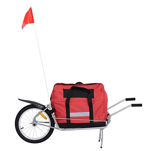Aosom Single Wheel Foldable Bicycle Cargo Trailer, Red