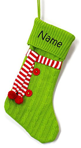 Personalized Green Scarf Christmas Stocking with Embroidered (Embroidered Green Personalized Christmas Stockings)
