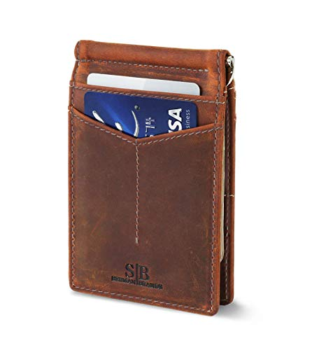 Travel Wallet RFID Blocking Bifold Slim Genuine Leather Thin Minimalist Front Pocket Wallets for Men Money Clip - Made From Full Grain Leather (Canyon Red Rogue)