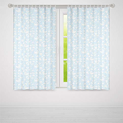 TecBillion Window Curtains Blackout,Baby,for Bedroom Living Dining Room Kids Youth Room,Hearts Background with Teddy Bears Strollers Infant Clothes Newborn Child Theme Decorative,103Wx72L Inches