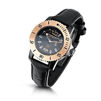 Alessandro Baldieri Damen-Armbanduhr Seamonster Lady Rosy Analog Leder schwarz AB0031-ROS