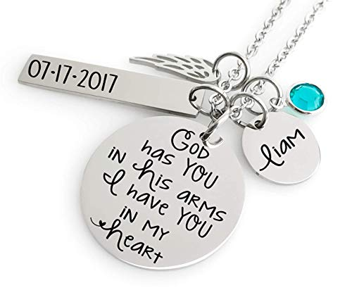 Memorial Jewelry Necklace - God has you in His arms I have you in my Heart- Name Disc, Angel Wing & Birthstone Crystal