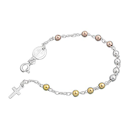 Sterling Silver 14K Rose Gold & Yellow Gold Plated 4mm Bead Cross Charm Rosary Bracelet ( 7.5 Inches ) (14k Rosary Bracelet Yellow Gold)