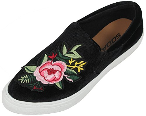 Soda Womens Flower Patched Loafer Slip On Shoes Black SP3SMpfUw