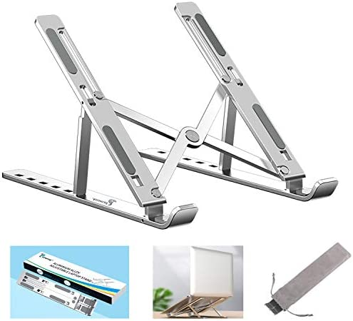 Proffisy Laptop Stand Adjustable Computer Stand Ergonomic Portable Tablet Stand Foldable Compatible with MacBook Dell XPS HP Lenovo(Silver)
