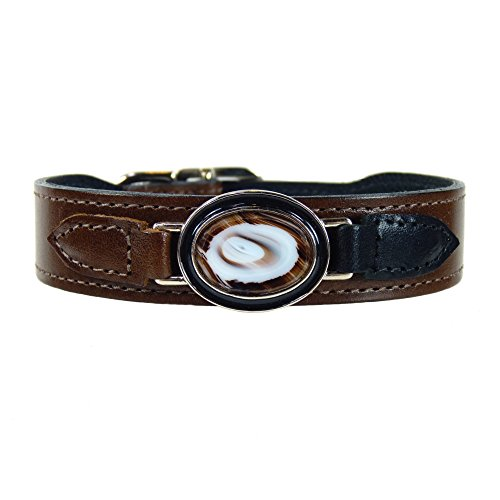 Hartman & Rose Leather Dog Collar Genuine Agate Enamel and Nickel Accent - Kaleidoscope Collection Jeweled Dog Collar Brown/Brown, 18 to 20 Inch