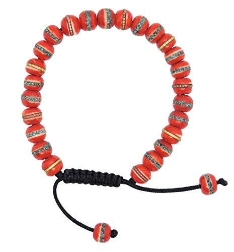 (Hands Of Tibet Mala Embedded Medicine Bracelet Yoga Healing Beads Adjustable Wrist Mala Many Color Choices (Small Red))