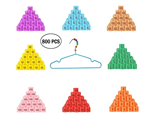 800PCS Hanger Size Markers XXS - 3XL Clothing Sizers Improved for 4mm(0.15in) Hole Size for Wire Hangers Assorted Colors 100PCS per Size & Color - Stay on Well and Go on Easy by WYNMARTS