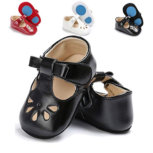 TIMATEGO Baby Girls Mary Jane Flats Non-Slip Toddler Infant First Walkers Princess Dress Shoes(0-6 Months M US Infant,H-Black)