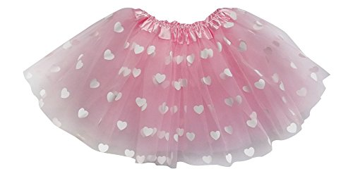 Adult, Plus, or Kids Size Valentine's Day Printed Heart Tutu Costume Love Skirt (M (Kid Size), -