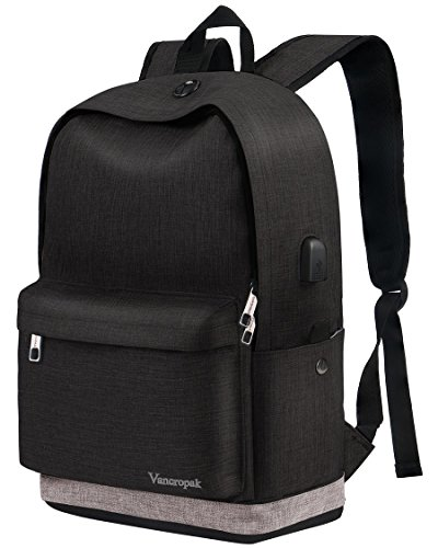 School Backpack, Black College Student Backpack for Men Women Boys Girls, Casual Unisex Bookbag with USB Charging Port for Travel Outdoor Camping, Canvas High School Rucksack Fits 15.6 Inch Laptop by Vancropak
