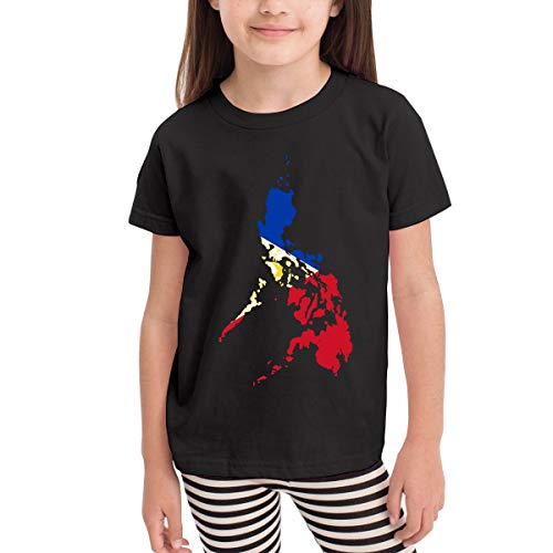 Philippines Filipino Map Sun and Stars Flag Costume Infant Kids O-Neck Short Sleeve Shirt Tee for 2-6 Toddlers Black