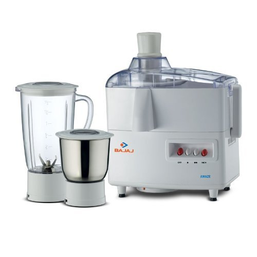 Bajaj Amaze 450 watts Juicer Mixer Grinder (White and Blue)