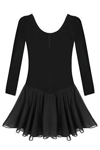 - Arshiner Girls'Cute Sweet Dancing Ballet Dress Long Sleeve Leotard, Black, 140 (7y-8y)