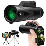 Monocular Telescope, JUZIHAO 12X50 HD Low Night Vision Waterproof High Power Spotting Scopes Cell Phone Photography Adapter, Tripod Holder Bird Watching Hunting Camping Hiking Travelling