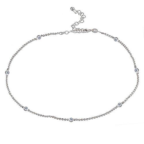 Sterling Silver Cubic Zirconia Station Dainty Chain Choker Necklace (Silver Station Bracelet)
