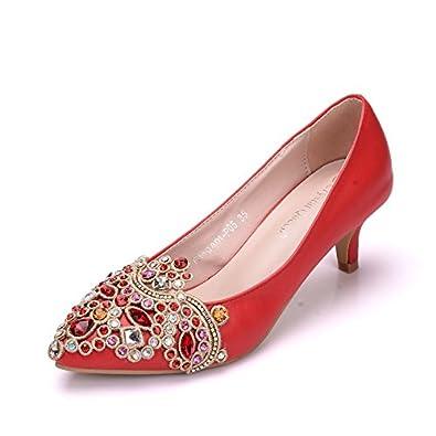 LEIT Damenschuhe Casual Flachbild Wies Dünne Schuhe, 38, Rot
