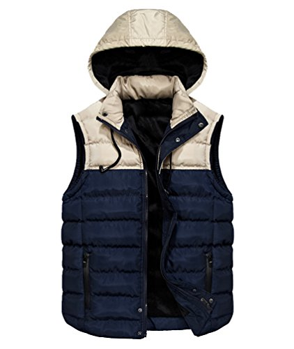 Padded Fit Bubble Removable Blue Body Gilets Sleeveless Jacket With Mens Fit Puffa Vest Warm Thicken Hood Bodywarmer Quilted Winter Hooded Warmer Bodywarmers Slim Puffer Jackets Gilet Slim 5qF1H