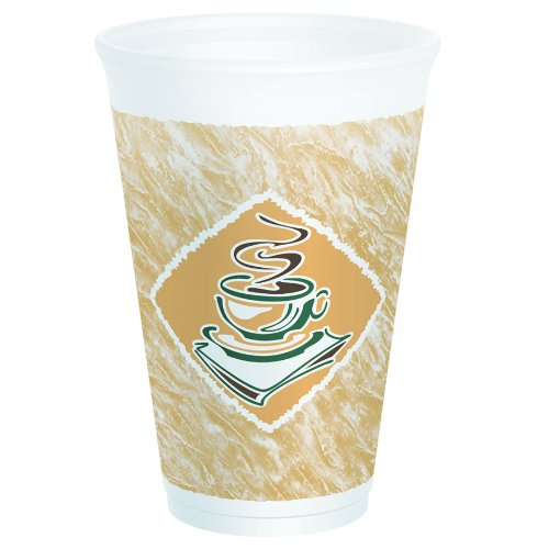Dart 16X16G Cafe G Accents Printed Foam Cup, 16 oz, 3.6