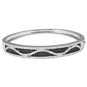 Sterling Silver Black and White Cubic Zirconia Bangle Bracelet