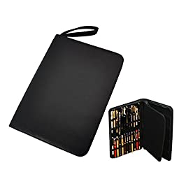 Fountain Rollerball Pen Case Holder PU Leather Case for 48 Pens - Black