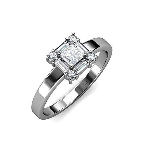TriJewels Princess Cut 4mm White Sapphire & Diamond Womenss Promise Ring 0.77 ctw 14K White Gold.size 5.5