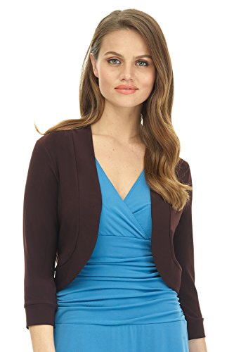 Rekucci Women's Soft Knit Rounded Hem Stretch Bolero Shrug (Small,Espresso)