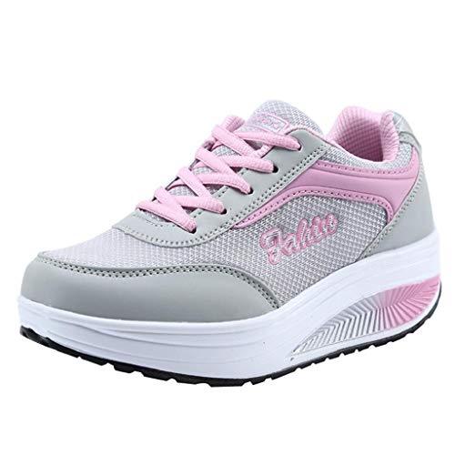 Fondo Deportivo Calzado Quicklyly Mujer Zapatillas Moda Y Corriendo Balanceo Rosado Casual De Zapatos Suave Aumento w4Pa4