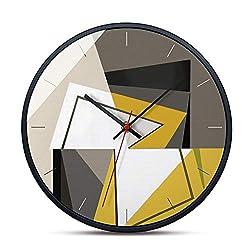 TOMSSL Creative Modern Minimalist Mosaic Color Block Gray Yellow Household Metal Wall Clock Living Room Bedroom Decoration Clock Decoration Mute Non-tick 30.530.5cm Beautiful