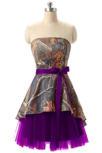 PrettyWish Womens Short Strapless Camouflage Bridemaid Dresses Plus Size Prom Formal Gowns Purple us2