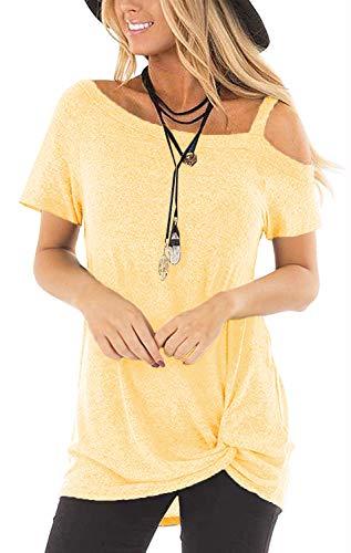 SAMPEEL Women's Cold Shoulder T Shirts Twist Knot Tunics Tops 1