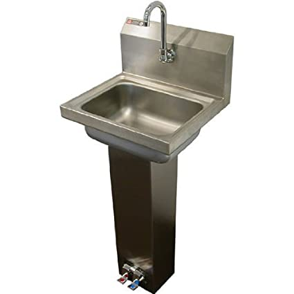 aero stainless steel foot pedal opertaed utility sink with faucet and strainer - Stainless Utility Sink