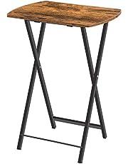HOOBRO Bijzettafel, klaptafeltje, snacktafeltjes om te eten aan de bank, bijzettafel voor kleine ruimte, woonkamer, industrieel, gemakkelijk op te bergen, stabiel metalen frame, rustiek bruin EBF17BZ01