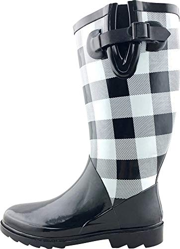 Cambridge Select Women's Pattern Print Colorful Waterproof Welly Rain Boots,9 M US,Black/White Checkered (Checkered Pattern White Black)