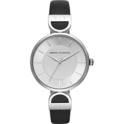 Armani Exchange Women's 'Brooke' Quartz Stainless Steel and Leather Watch, Color:Black (Model: AX5323) -