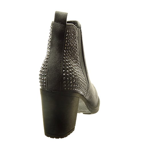 Angkorly - Chaussure Mode Bottine chelsea boots femme strass diamant Talon haut bloc 7 CM - Gris
