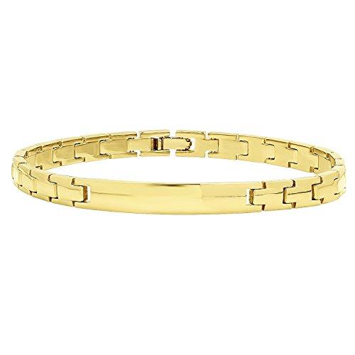 Engravable Link Bracelet (7mm Smooth 14k Yellow Gold Plated Engravable ID Solid Link Bracelet, 7