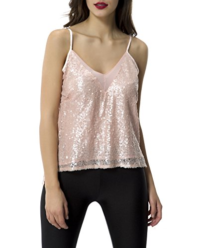 Tribear Women's Sexy Sequins Glossy Spaghetti Strap V Neck Camis Tops (Medium, ()