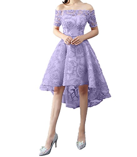A Linie Charmant Schulterfrei Abendkleider Kurzarm Abschlussballkleider lo Damen Lilac Ballkleider Partykleider Hi AfAwpCzxq